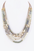 Bead Layered Necklace, Multi Strand Necklace, Multi Bead Stranded Necklace