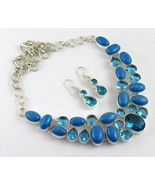 Blue Agate-Blue Topaz Silver Overlay Handmade Jewelry Necklace G-503-17 - $44.55