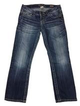 SILVER SANTORINI Capri Cropped Jeans Sz 27 Med Wash Distressed - $11.60