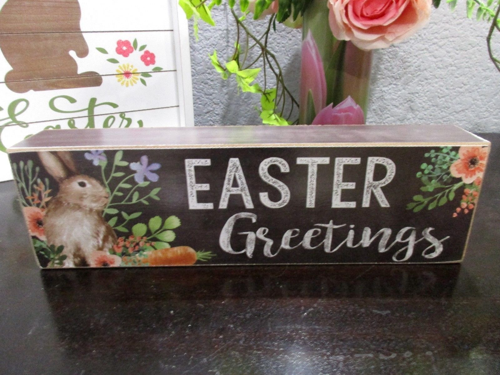 Primitive Vintage Style Easter Spring Rabbit EASTER GREETINGS Wood Sign Decor