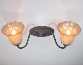 Oiled Bronze Finish Wall Bath vanity Light fixture Iridescence Glass - $69.29