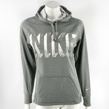 Nike Therma Fit Sweatshirt Womens Size Small Gray Graphic Pullover Hoode... - $33.66