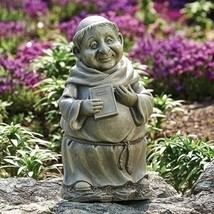 Roman 11.5IN Gray Smiling Monk with a Book Outdoor Patio Garden Statue - €28,58 EUR