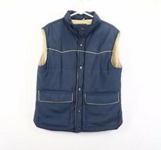 Vintage 80s Gap Mens Large Full Zip Button Western Puffer Vest Jacket Navy Blue - $44.50