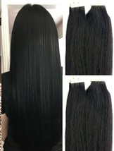 """18"""",20"""" 100gr,40pc,Tape in Hair Extensions Remy Human Hair #1 Jet Black - $99.99"""