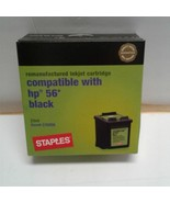 Staples Inkjet Cartridge Compatible HP56 C6656AN Black SIH-R100B remanuf... - $6.50