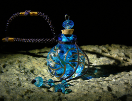 MAJESTIC HEALER DJINN Blue Murano Cork Bottle Pendant Necklace izida hau... - $303.00