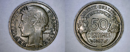1937 French 50 Centimes World Coin - France - $4.99