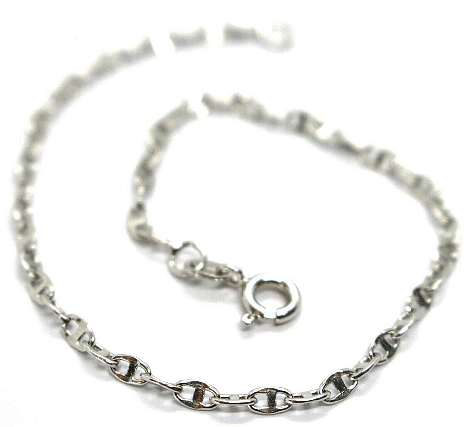 Primary image for 18K WHITE GOLD BRACELET, CROSSED MARINER LINKS 2.8mm, BRIGHT, LENGTH 7.7""