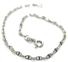 "18K WHITE GOLD BRACELET, CROSSED MARINER LINKS 2.8mm, BRIGHT, LENGTH 7.7"" - $207.00"