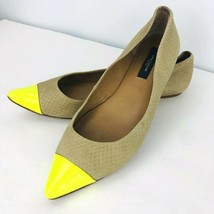 Ann Taylor 7M Beige Neon Yellow Cap Toe Pointed Ballet Flats Snake Skin Embossed - $29.69