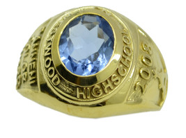 grand Blue Shappire CZ Gold Plated Blue Ring Natural handcrafted US gift - $27.99