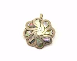 Vintage Abalone Flower Design Pendant 925 Sterling PD 1377 - $32.44