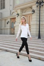 Women Sexy Floral Lace V-Neck Long Sleeve Lady T-Shirt Casual Blouse Tops