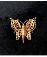 60s-70s MONET Signed Butterfly Gold Filigree Lace Brooch Pin, Vintage In... - $29.00