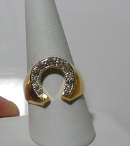 18K HGE ESPO Rhinestone Horseshoe Ring Size 9.5 - $17.82