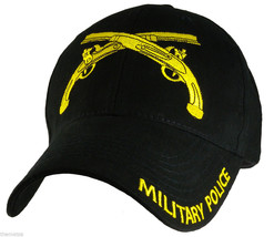 Military Police Army Crossed Pistols Embroidered Black Military Hat Cap - $31.58