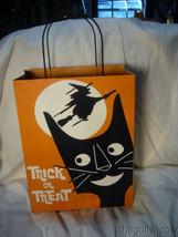 Bethany Lowe Large Tin Halloween Treat Bag Black Cat Witch image 1