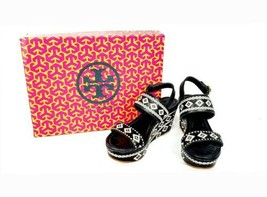 Tory Burch Reena Black White Morrocan Aztec Leather Platform Wedge Sandals SZ 5 - $167.86