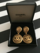 Authentic CHANEL Vintage Gold Logo Clip on Earrings Coco CC Drop HCE082 - $438.37