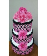 Disney Pink and Black Minnie Mouse Theme Baby Shower 3 Tier Diaper Cake ... - $40.00
