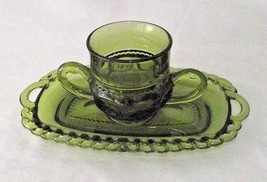Green Indiana Glass Creamer Dish Thumbprint Kings Crown Butter Replacement Vtg - $24.74