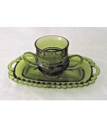 Green Indiana Glass Creamer Dish Thumbprint Kings Crown Butter Replaceme... - $24.74
