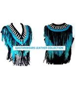 QASTAN Women's New Black - Turquoise Fringes / Bones Suede Leather Vest ... - $89.10+