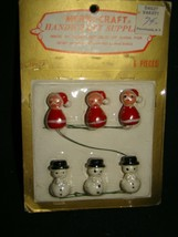 Vtg SANTA CLAUS SNOWMAN Wood Miniature Painted Merri-Craft Christmas Dec... - $9.99