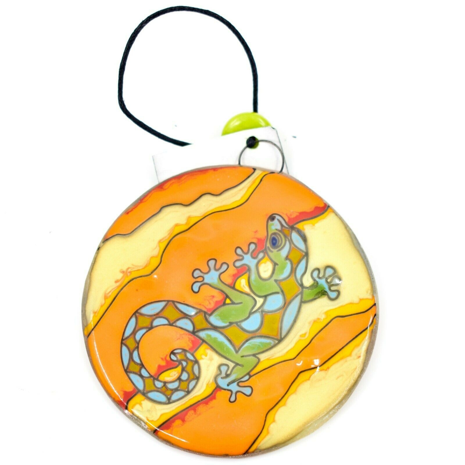 Orange Desert Gecko Lizard Fused Art Glass Ornament Sun Catcher Handmade Ecuador