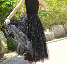 Black Tulle Party Skirt Women Tiered Layered Tulle Skirt Tulle Party Skirt Plus image 5