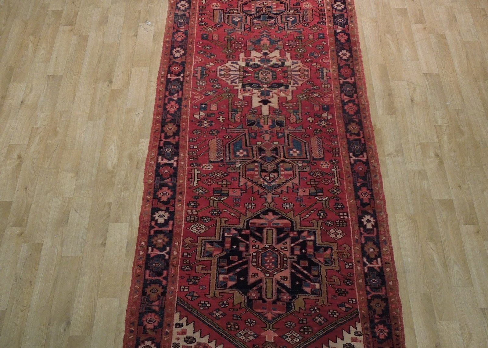 Tribal Inspired Olde Runner Persian Hand-Knotted 2' x 11' Red Heriz Wool Rug image 12