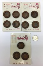 """Lot 11 Vtg Brown Plastic Buttons Lansing 8703 Size 7/8"""" Cards New Tunnel... - $9.99"""