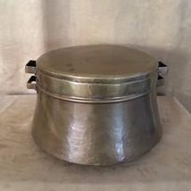 """Vintage 15"""" copper pot hammered lid 9"""" high kettle metal kettle cauldron - $114.50"""