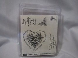 Stampin Up Script Heart Stamp Set Wedding Theme Love Hope Believes Flowers Rose - $13.85