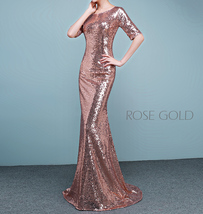 Half Sleeve Fit Gold Maxi Sequin Dress Wedding Party Maxi Gold Sequin Dress Gown image 6
