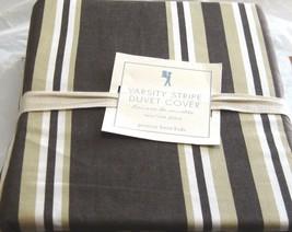 Pottery Barn Kids Twin Duvet Cover Varsity Stripe Chocolate Brown Beige ... - $59.39