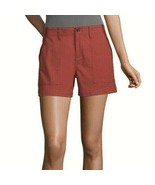 a.n.a. Women's Hi Rise Embroidered Shorts Size 10 PETITE Barn Red Color  - $22.76