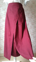 Women Wide Leg Linen Cotton Pants Long Wrap Pants Trousers Casual Pants Burgundy image 6