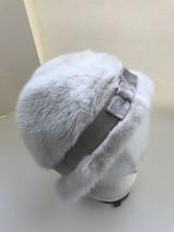 Vintage Novotny Lakewood Ohio Mink Fur Hat Derby White Tan Ribbon  - $54.44