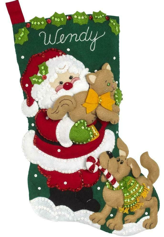 Primary image for Bucilla Santas Best Friends Puppy Dog Cat Christmas Felt Stocking Kit 86974E