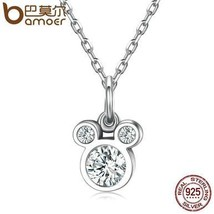 BAMOER New Arrival 925 Sterling Silver Dazzling Miky Mouse Pendant Neckl... - $25.99