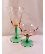 """Bi-Color Pink Green Vintage Goblets 7 1/2"""" Water & 4"""" Champagne Sherbet SET VFC! - $22.00"""