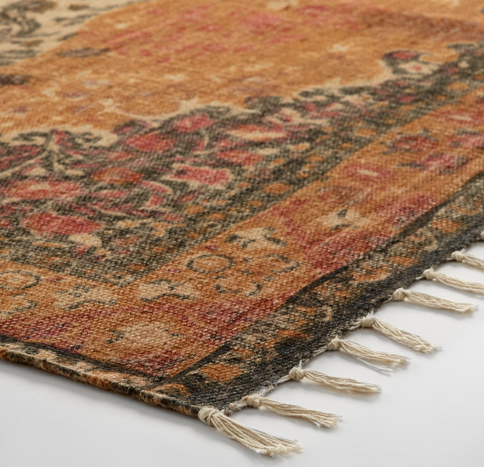 Hand Woven 100% Natural Jute Distressed Persian Style Area Rug/Wall Hanging -5x8