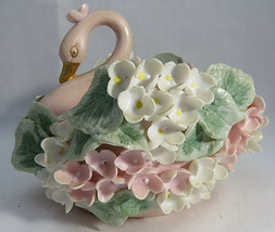 """Vintage 60s LEFTON China Pink White FLORAL Relief SWAN Shape 4"""" tall Dish  - $20.00"""