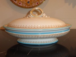ROYAL WORCESTER ANTIQUE CIRCA 1876 TEAL TURQUOISE COVERED CASSEROLE - $199.00
