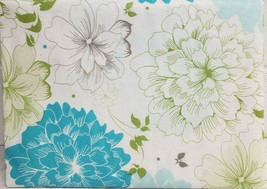 "HEAVY FLANNEL BACK VINYL TABLECLOTH 52"" x 52"" Square, WHITE & BLUE FLOWE... - $16.82"