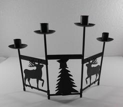Folding Candle Stick Holder Dark Green Metal Christmas Reindeer Tree Hol... - $11.88