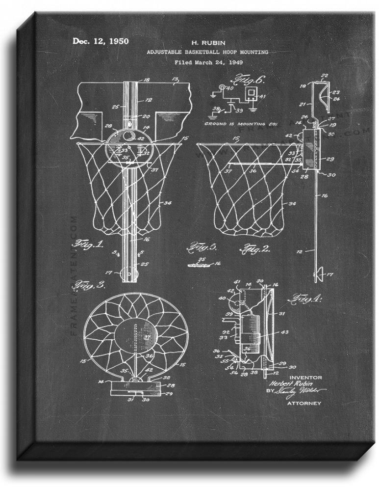 Primary image for Basketball Hoop Patent Print Chalkboard on Canvas