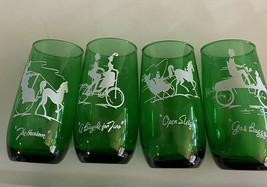 Forest Green Glasses ~Transportation Designs ~ Fire King/Anchor Hocking ... - $16.00